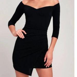 LuLu's Off The Shoulder Black Bodycon Dress S